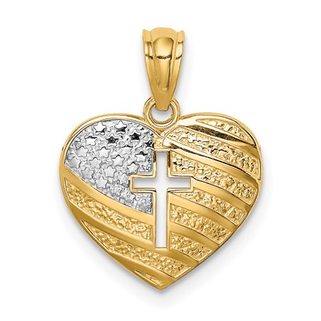 Usa Flag Pendant (14K Yellow Gold & White Rhodium Plated Usa Flag with Cross Heart Pendant )