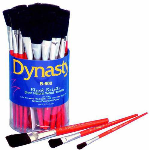 Dynasty B-600 Cylinder Black Bristle Short Wood Handle Paint Brush Set, Assorted Size, Natural, Set of 60