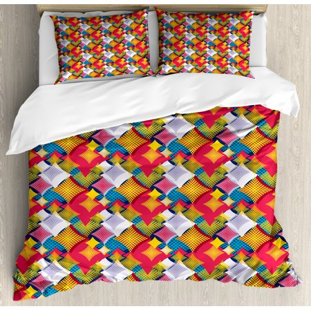 Abstract Duvet Cover Set Abstract Geometric Pattern With Square
