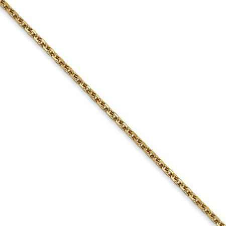 1.65mm 14k Yellow Gold Diamond Cut Solid Cable Chain Anklet, 9 (Gold Anklet Diamond Cut Cable)