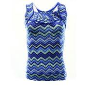 American Rag NEW Blue Green Women's Size 2XS Chevron Print Stretch Blouse $34
