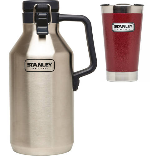 Stanley 16oz Vacuum Pint, Red with 64oz Growler Value Bundle
