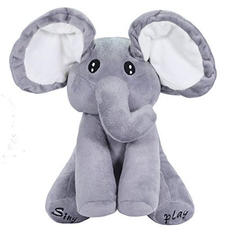 OMGOD Plush Toy peek-a-Boo Elephant, Hide-and-Seek Game Baby Animated Plush Elephant Doll Present - Gray - Making Babies Games