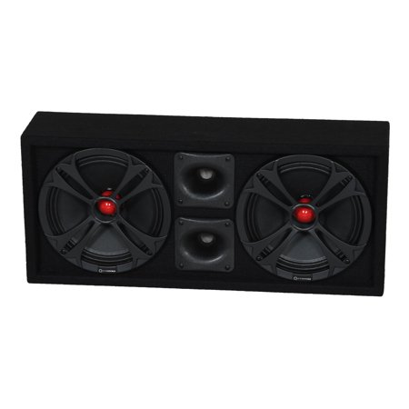 Q Power Chuchero Dual Pre Loaded 10 Inch Speaker Sub Box Enclosure w/ 2 Tweeters
