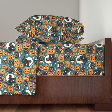 Halloween Bed Sheets (Retro Halloween Black Cats Pumpkin 100% Cotton Sateen Sheet Set by)
