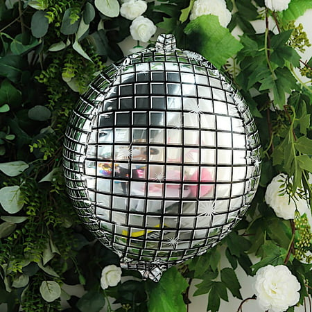 BalsaCircle 13-Inch wide Silver Disco Ball Orb Mylar Foil Balloon - Wedding Party Event Reception Wholesale Decorations Supplies - Disco Ball Balloons
