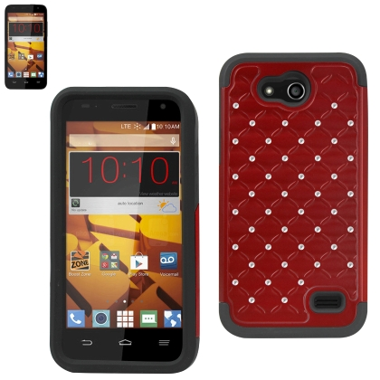 REIKO ZTE SPEED HYBRID HEAVY DUTY JEWELRY DIAMOND CASE IN BLACK RED