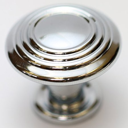 "Hamilton Bowes Polished Chrome Cabinet Hardware 1-1/4"" Round Mushroom Modern Basic Knob - 1.25"" Diameter – 1"" Tall Modern Traditional Shiny"
