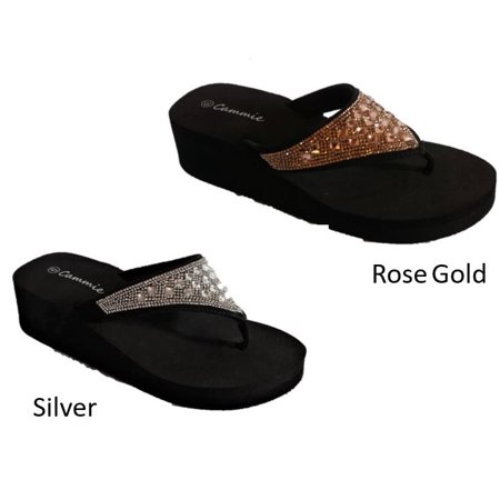 3a66a0b51d0ba5 Cammie - Women s Crystal Rhinestone Thong Sandals Flip Flops Black sole  with Silver or Rose Gold - Walmart.com