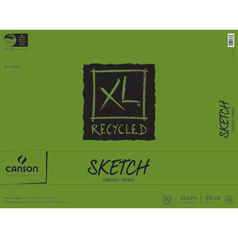 Canson XL Recycled Fold Sketch Pad - 18 x 24 inches - 100 Sheets
