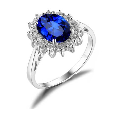 Kate Sterling Silver Blue with Clear Accent CZ Birthstone Engagement