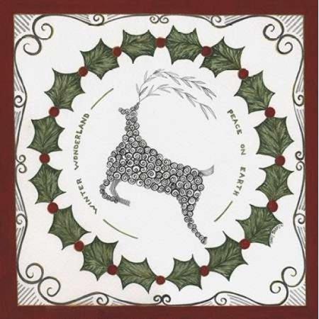 Winter Wonderland Wreath Rolled Canvas Art - Cindy Shamp (12 x 12) Winter Wonderland Room Roll