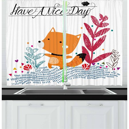 Fox Curtains 2 Panels Set, Cute Little Fox Character Colorful Geometric Spring Field Have a Nice Day Text Dots, Window Drapes for Living Room Bedroom, 55W X 39L Inches, Multicolor, by Ambesonne ()