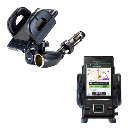 Dual USB / 12V Charger Car Cigarette Lighter Mount and Holder for the Sony Ericsson Hazel