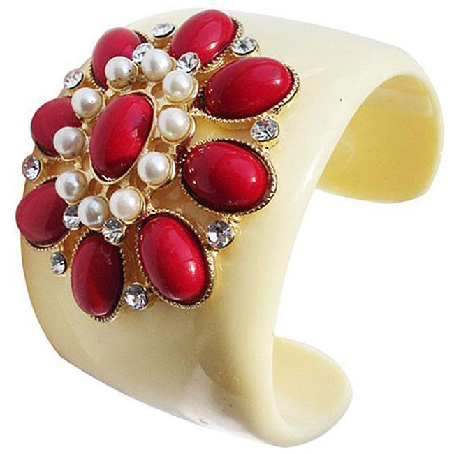 Zircomania 633B-3297RD Resin Red Coral Cabochon and Faux Pearl Flower Cuff Bangle
