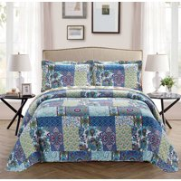 Fancy Collection 3pc King/California King Oversize Reversible Bedspread Bed Cover Floral Blue Teal Green New