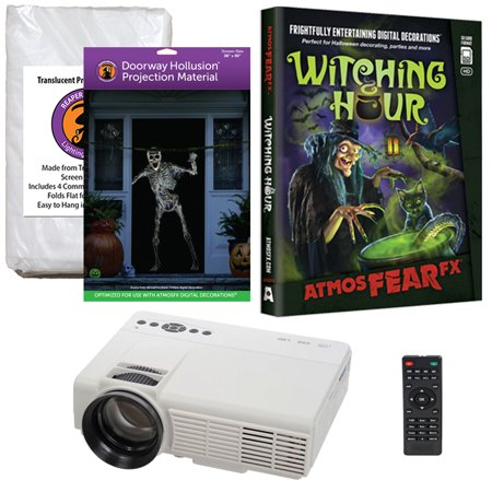 Halloween Projector Kit for Windows, Doors & Walls with Witching Hour AtmosFEARFx DVD + 2 Screens (R/D) + Projector