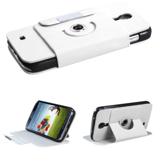 Insten White Premium Rotatable MyJacket Wallet Case 426 For SAMSUNG Galaxy S4 I9500