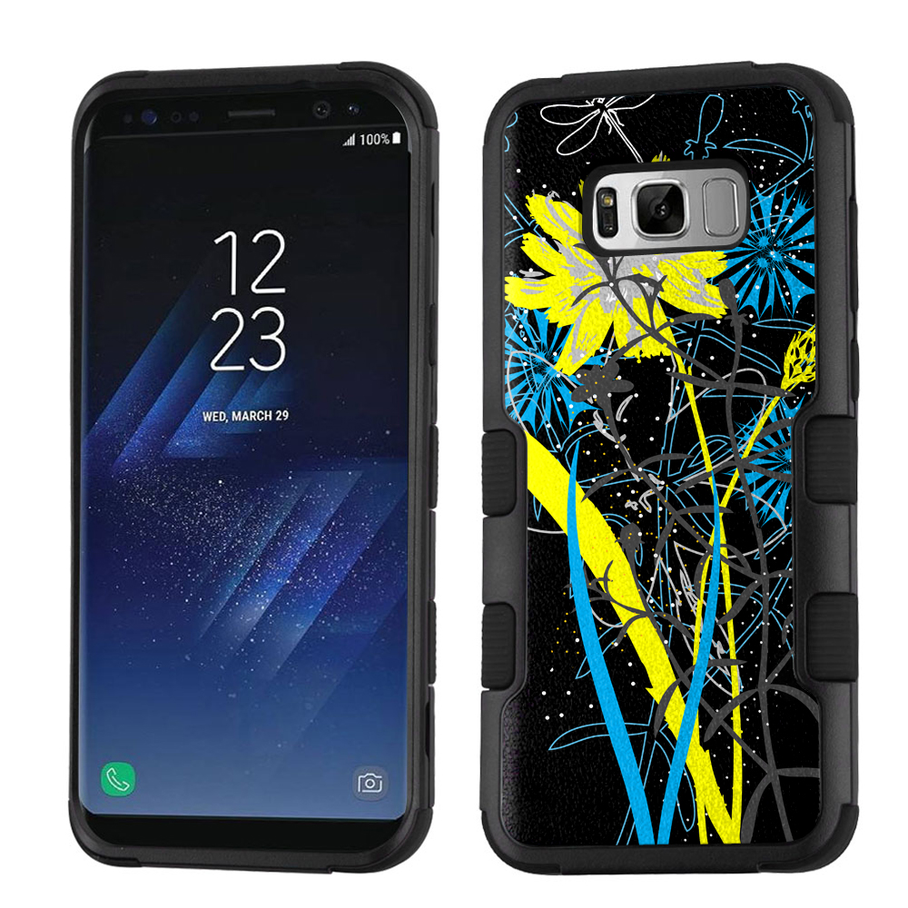 Hybrid Case for Samsung Galaxy S8 PLUS / S8+, OneToughShield ® 3-Layer Shock Absorbing Phone Case (Black/Black) - Wildflowers