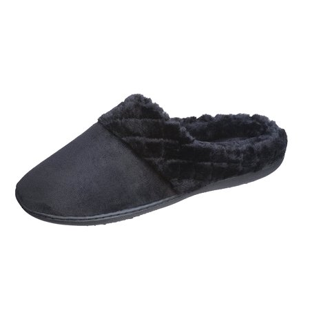 Roxoni  Womens Suede Clog Slippers With Diamond Plush Fur Trim (Medium/7.5-8, (Fur Trimmed Clog)