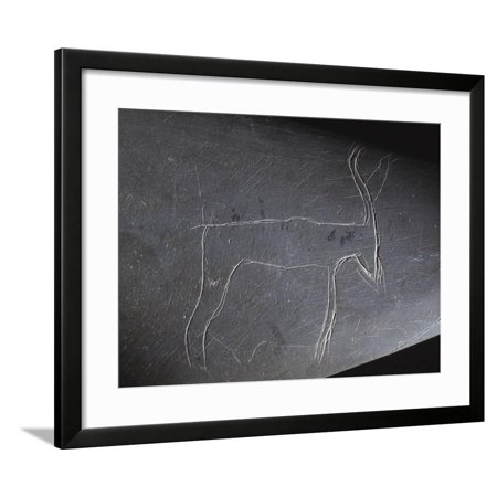 Detail froma cosmetic palette depicting a gazelle or antelope, Ancient Egyptian, Predynastic Framed Print Wall Art By Werner (Gazelle Frame Size)