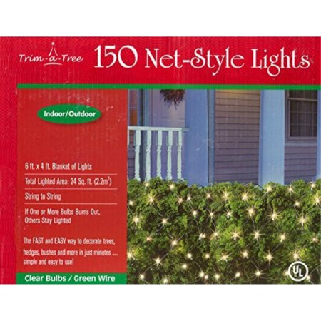 Trim-a-Tree 150 Indoor Outdoor Net Style Christmas Lights (Clear) ()
