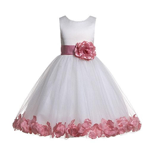 Ekidsbridal Ivory Tulle Rose Petals Formal Flower Girl Dresses Toddler Girl  Dresses Pageant Dresses Wedding Tulle Dresses Birthday Girl Dress Special
