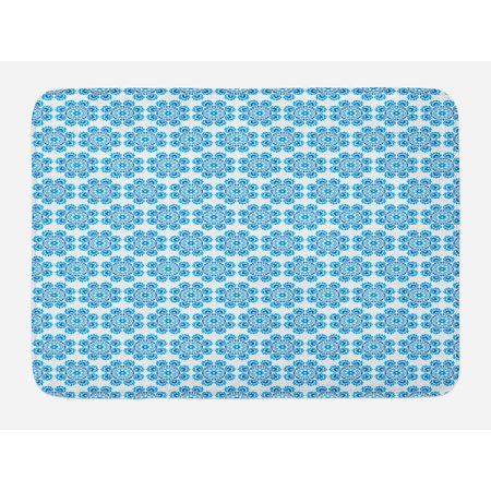 Ethnic Bath Mat, Polish Folklore Inspirations in Floral Motifs Composition with Heart Symbols, Non-Slip Plush Mat Bathroom Kitchen Laundry Room Decor, 29.5 X 17.5 Inches, Blue and Dark Blue, Ambesonne