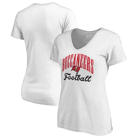 Tampa Bay Buccaneers Womens Rhinestone - Tampa Bay Buccaneers NFL Pro Line by Fanatics Branded Women's Victory Script V-Neck T-Shirt -White