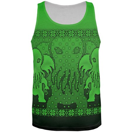 Ugly Christmas Sweater Big Cthulhu Greater Gods All Over Mens Tank Top
