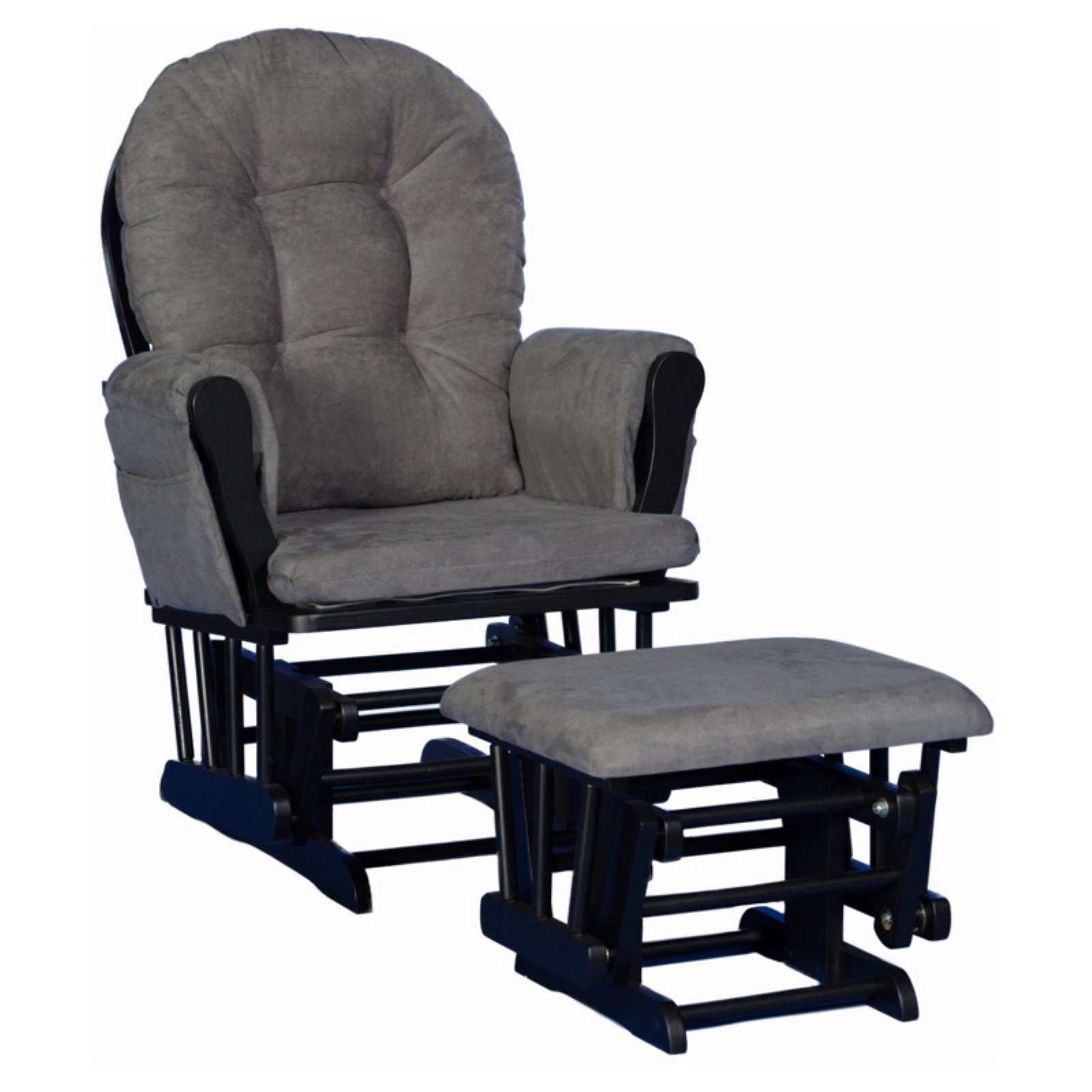 Storkcraft Hoop Glider and Ottoman Black with Gray Cushions