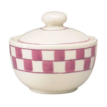 Sugar Bowl Red White Checkmate Stoneware Handpainted   Renovators Supply