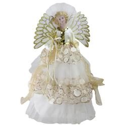 "16"""" Lighted B/O Fiber Optic Angel in Cream and Gold Sequined Gown Christmas Tree Topper"