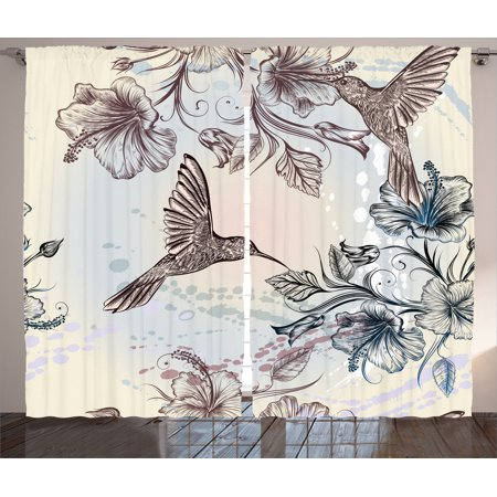 Hummingbirds Decorations Curtains 2 Panels Set, Birds And Hibiscus Flowers Nostalgia Antique Artistic Design Classic Home, Living Room Bedroom Accessories, Gift Ideas, By Ambesonne