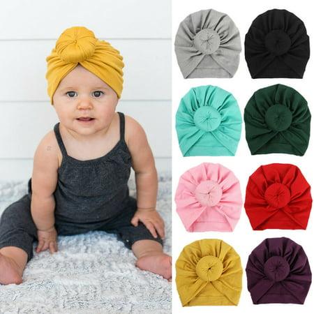 SUNSIOM Kids Baby Girl Turban Flower Head Wrap Adjustable India Hat Cotton Cap ()