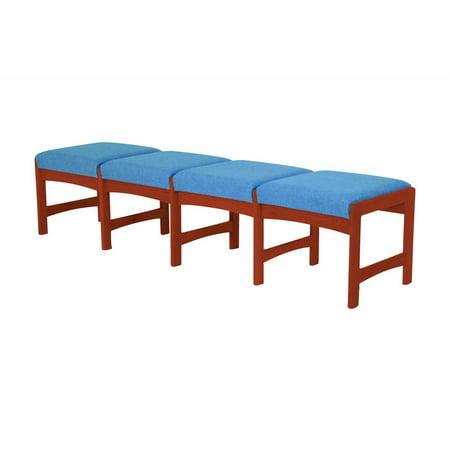 Solid Wood Bench w Dark Red Mahogany Finish & 4 Upholstered Seats (Powder Blue)