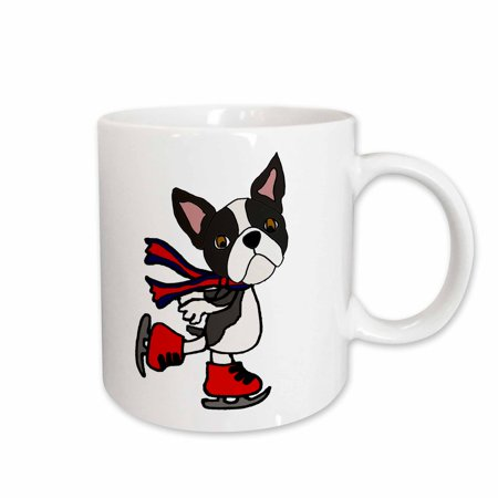 3dRose Funny Cute Boston Terrier Puppy Dog Ice Skating cartoon - Ceramic Mug, -