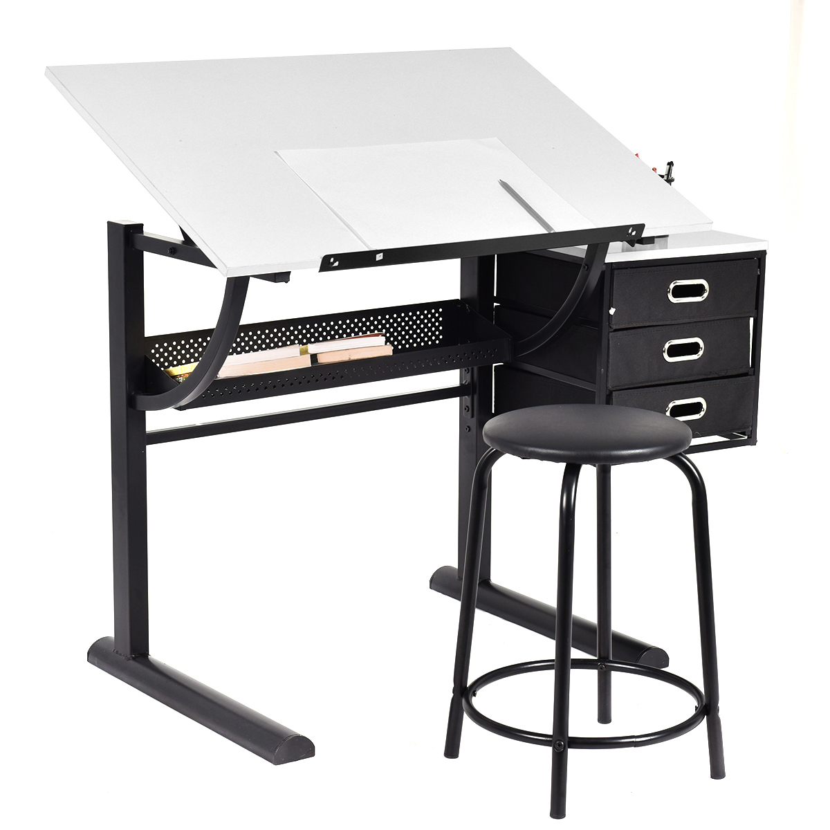 Attractive Costway Drafting Table Art U0026 Craft Drawing Desk Art Hobby Folding  Adjustable W/ Stool