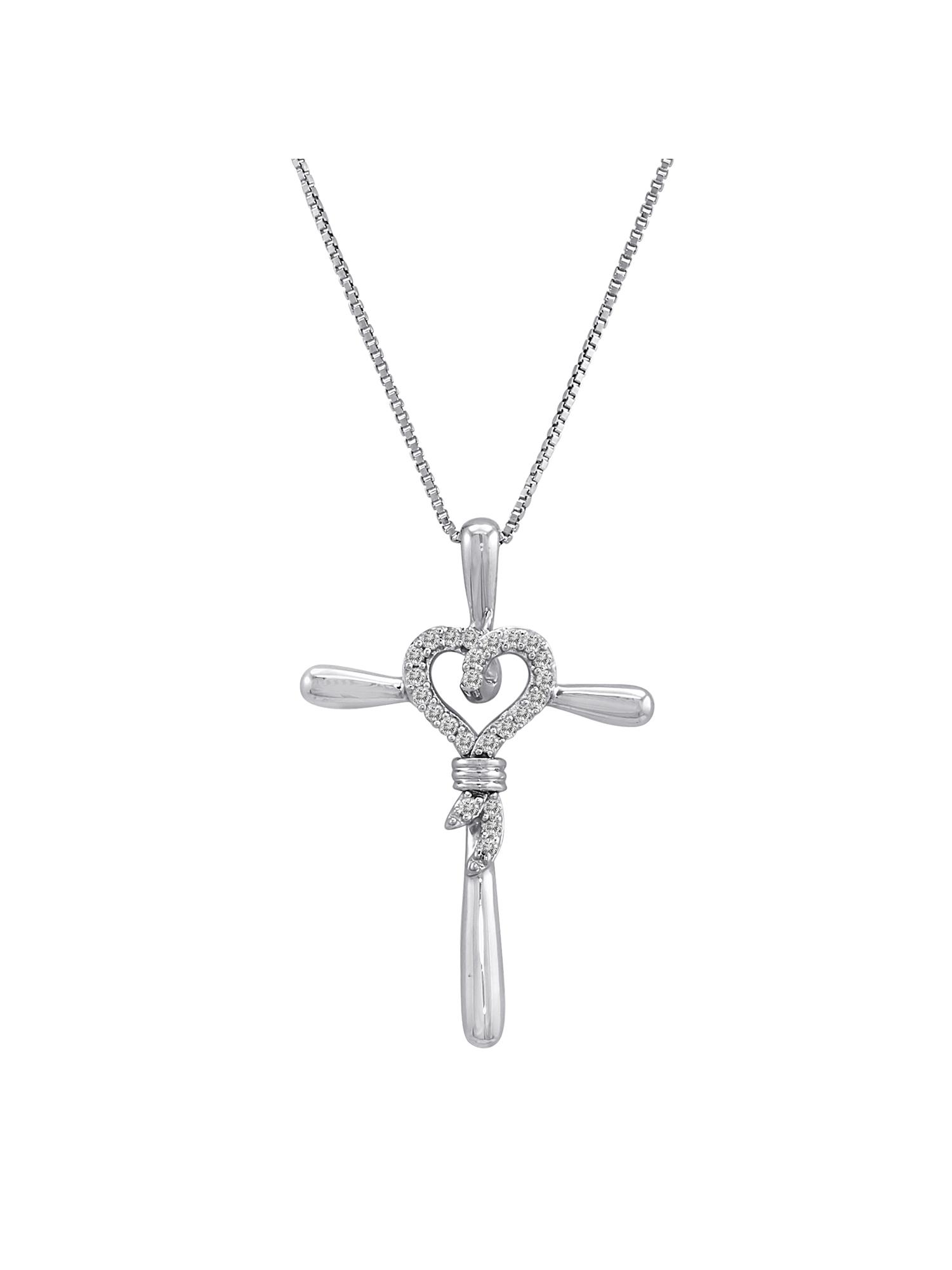 """Knots of Love Sterling Silver 1/10 Carat T.W. Diamond Heart/Cross Pendant, 18"""""""