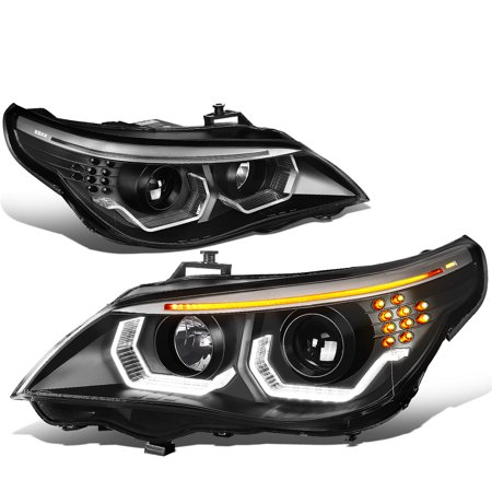 For 2004 to 2007 BMW E60 525i 530i 525xi 530xi 545i 550i LED Turn Signal + Dual Crystal U-Halo Projector Headlight Lamps 05 06 Bmw 525i Headlight Assembly