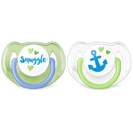 Philips Avent Classic Walmart Deco Pacifier 6-18m, blue/green anchor and snuggle, 2 pack, SCF197/06