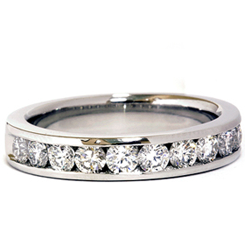 VS 950 Platinum 1ct Channel Set Diamond Wedding Ring Womens Jewelry by Pompeii3