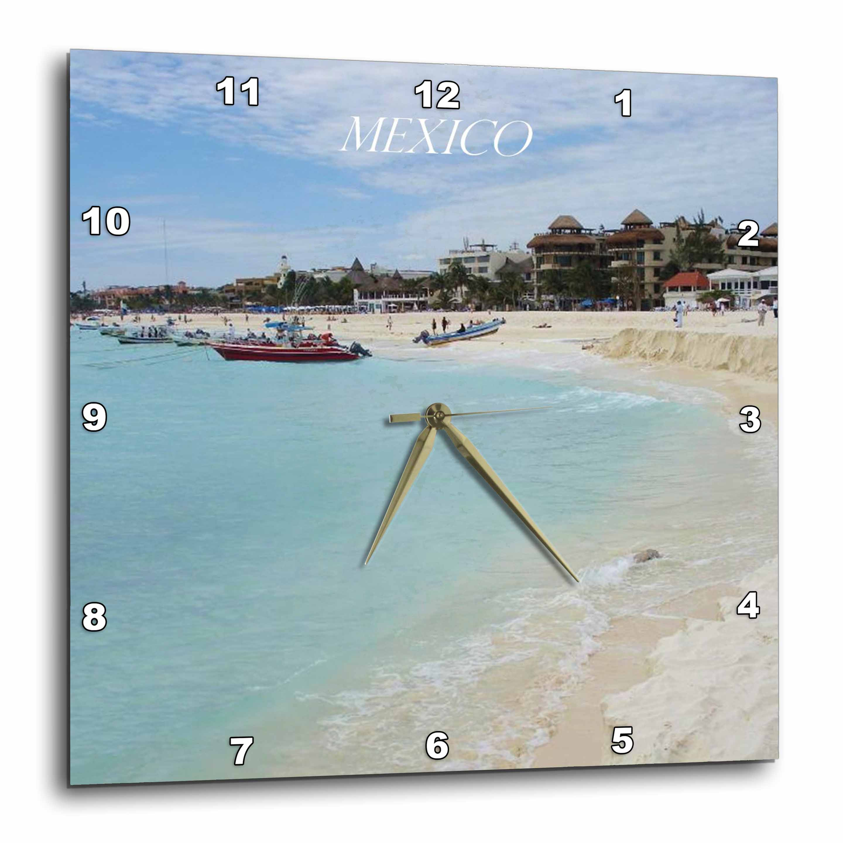 3dRose Mexican Coastal Town, Wall Clock, 13 by 13-inch