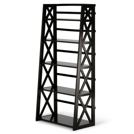 Brooklyn + Max Providence Solid Wood 63 inch x 30 inch Contemporary Ladder Shelf in Dark Walnut (Providence Mall Stores)