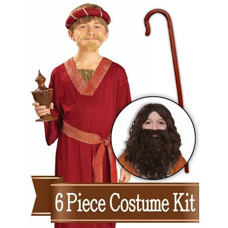 Burgundy Wiseman Biblical Easter Nativity Child Costume Kit - Large - Angel Costume Nativity