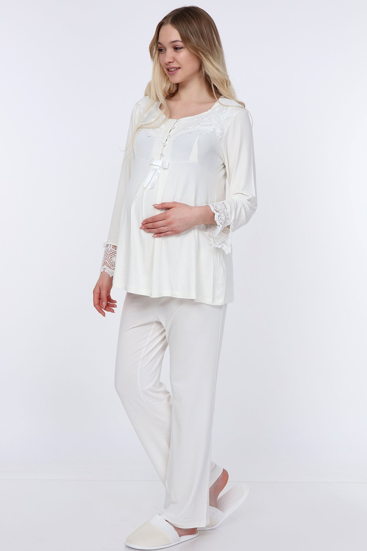 Luvmabelly Lvma9500 Women S Maternity Nursing Pajamas Hospital Set Soft Long Sleeved Button Tops Pj Pants Sleepwear Set Walmart Com Walmart Com