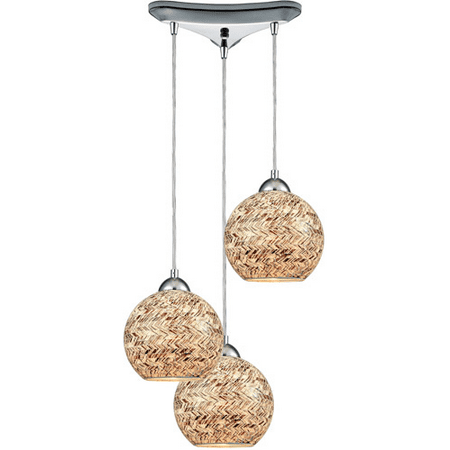 - Pendants 3 Light With Polished Chrome Finish Painted Crosshatch Mosaic Medium Base 10 inch 300 Watts - World of Lamp