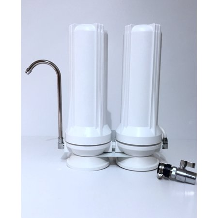Countertop Water Filter - 2 Stage Filtration - Sediment & Carbon Filter Countertop Double Stage Filter
