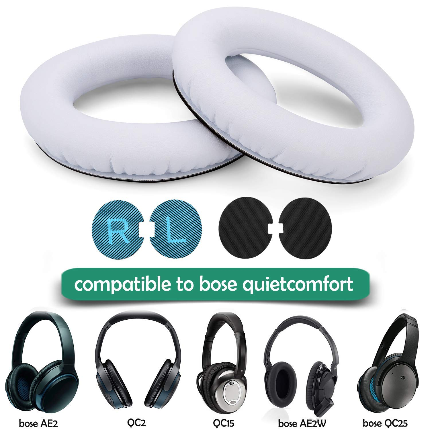 Leather Ear Cushion Kit for Bose QC2//QC15 Headphones Ear Pads Quiet /& Comfort
