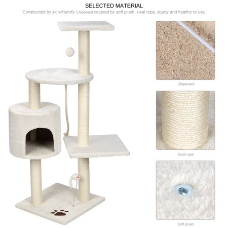 """44"""" Cat Tree with Sisal-Covered Scratching Posts, Multi Level Activity Center Kitty Condo Furniture (White) - image 7 of 8"""